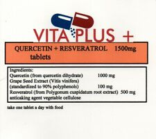Quercetin & Reservatrol 1500mg Tablets 60's Increase Energy & Metabolism