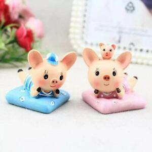 2Pcs Cute Lie Down Cartoon Pig Cushion Car Desk Decor Mini Ornament Kid's Toy