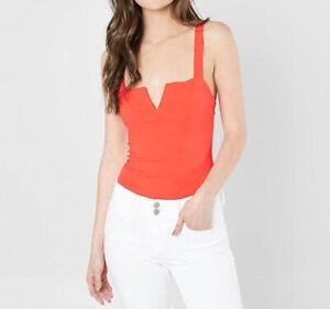 Free People Womens Pipa OB646292 Bodysuit Slim Warm Copper Orange Size XS