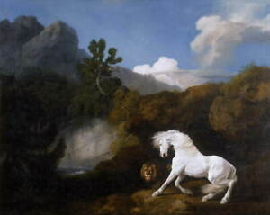 George Stubbs Horse Frightened by a Lion 1 Poster Giclee Canvas Print