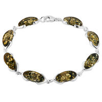 925 Solid Pure Sterling Silver Green Baltic Amber Venus Bracelet 8 Inches