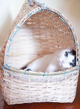 Pet Bamboo Craft Tent Bed for Dog/Cat Handmade Eco Basket Kennel Pet Size M/L
