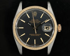 Vintage Authentic 1964 Rolex Steel & Gold Datejust 1601 w/ Black Service Dial!