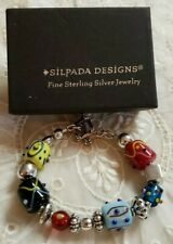 Silpada Art Glass Bead Lampwork & Sterling Silver Bracelet Toggle Clasp B0871