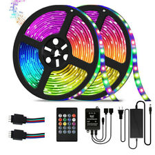 32.8ft RGB Music Sync Color Changing LED Strip Lights Remote For Home Decoration