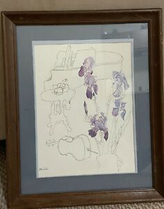 """MILLICENT TOMKINS Signed Drawing """"MUSICAL INSTRUMENTS and IRIS"""""""