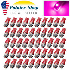 50Pcs Purple Pink T10 5050 5SMD Interior License Plate Map Dome LED Light Bulbs