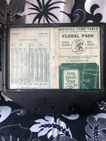 Vintage Train Time Table LIRR Floral Park Long Island Trust Co Metal Holder 66