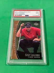2001 Upper Deck Golf Tiger Woods #SL-7 Stat Leaders RC PSA 9 Masters Champion