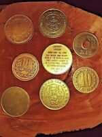 LOT OF 8 MIXED COINS AND OR TOKENS AND A PLANCHET.