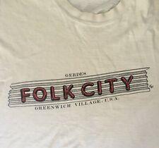Rare Vintage Gerdes Folk City Greenwich Village / Nyc T-Shirt / Bob Dylan / 1985