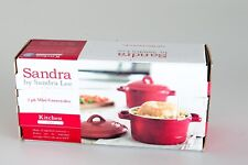 Sandra By Sandea Lee NEW 2 Pk Mini Casserole Dishes Christmas Red Cookware Oven
