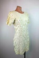 VTG 90s Cache White Sequin Jersey Dress Bodycon Wiggle Club Disco Retro sz L