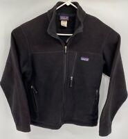 Patagonia Mens Synchilla Fleece Jacket Black Zip Pockets Mock Neck Long Sleeve M