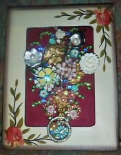 "Jewelry Art Bouquet, ""Breath of Fresh Air"", signed by Artist, Super Estate Frame"