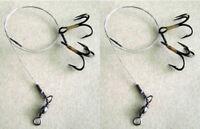 2 x VMC Treble fishing hooks live / dead bait rig size #8