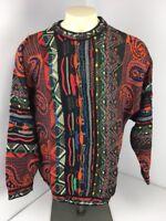 Vtg 90s COOGI Australia NEON-BIGGIE-MCGREGOR sweater EUC FIRE L VAPORWAVE Cosby