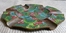 Antique Chinese Cloisonne Ashtray Copper Brass Floral Enamel