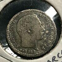 1882 DENMARK SILVER 10 ORE SCARCE DATE COIN