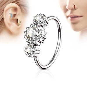 Nose Ring Hoop Ear Cartilage Helix Tragus Rook Snug Daith Piercing 20G 3 CZ Gems