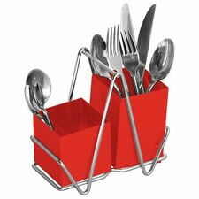 CUTLERY RACK /HOLDER 2 COMPARTMENT RED DRAINER STAINLESS STEEL STAND SINK TIDY