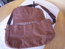 J Crew Authentic Furnishings Messenger Bag Dark Khaki Canvas Leather Trim 04570