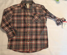 OshKosh B'Gosh Boys Long Sleeve Size 7X Button Front Cotton Flannel Shirt NWT