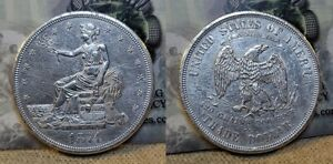 1874 CC Trade Silver Dollar $1 XF/AU Details Cleaned