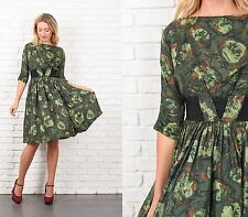 Vintage 50s 60s Green Silk Dress Floral Print Party Cocktail XXS pleated