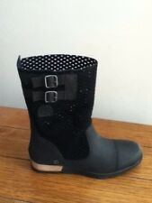 NEW Sorel Womens Major Pull On Size 8 Black Leather & Suede Mid Calf Boots