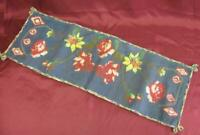 19C. ANTIQUE FOLK ART HAND EMBROIDERED TABLE RUNNER COVER