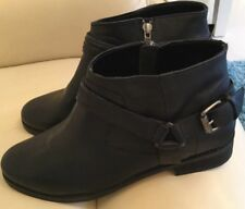 Warehouse Women's Black Leather Low Heels Ankle Boots Size 8 EUR 41