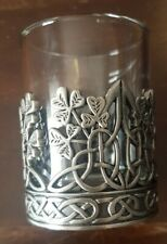 Irish Tea Light Holder. Pewter And Glass. Pre Owned.