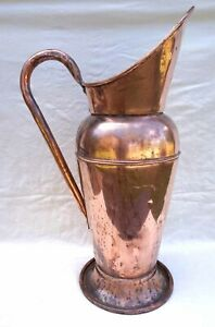 "French Large 24""++ Water Pitcher Copper Bath Tub Carrier 19th C"