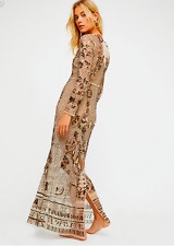 FREE PEOPLE ART DECO EMBELLISHED SHEER BEADED MAXI DRESS GOLD TEA XS NWT $228