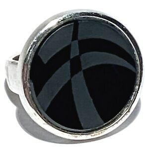 SIGNED STERLING SILVER ETCHED GLASS MODERNIST STUDIO ARTISAN RING