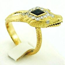 ART DECO SNAKE RING 18K GOLD AND PLATINUM, DIAMONDS AND NATURAL BLUE SAPPHIRE