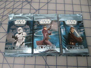 Star Wars Attack of the Clones Booster Pack x3 - Trading Card Game TCG NEW