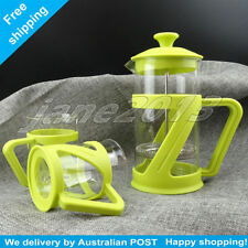GREEN Glass French Press Coffee Plunger Glass Tea Coffee Maker 2x Tea Cup 600ml