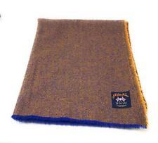 Pure Wool Tweed Blanket/Bedspread/Throw Blue and Gold Herringbone