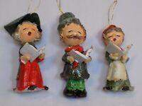 Paper Mache Christmas Tree Ornaments Carolers Singing Set 3 LOT Lady Man Child