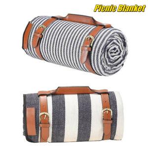 Large Fleece Picnic Blanket Beach Mat Camping Rug Waterproof Lining Carry Handle