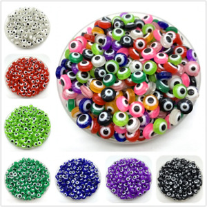 50Pcs Evil Eye Beads Round Stripe Spacer Beads For Jewelry Making DIY Charms