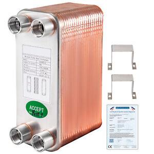 "40 Plate Water to Water Brazed Heat Exchanger 1/2"" BSP FPT Ports w/Brackets"
