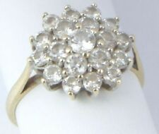 Round Cubic Zirconia Engagement Cluster Fine Rings