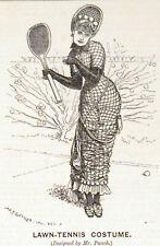 LAWN TENNIS COSTUME 1879 Edward Linley Sambourne PUNCH CARTOON PRINT