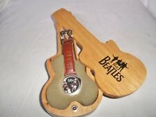 THE BEATLES OFFICIAL APPLE WRIST WATCH TIMEPIECE + WOODEN GUITAR SHAPED CASE