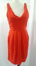 BB DAKOTA Red Sleeveless Pleated Scoop Neck Rayon Sheath Dress Size 8