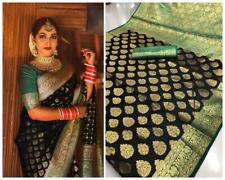 Indian Ethnic Women Black Color Designer Wedding Saree Banarasi Silk Sari Blouse