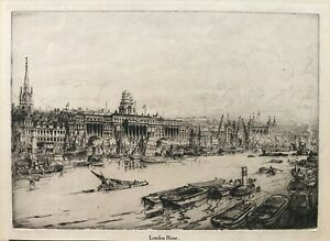 1928 Antique Etching; London River (the Thames, Tower etc) by William Monk